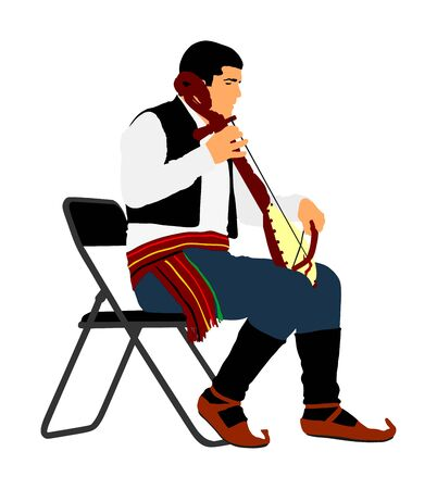 Guslar play gusle, traditional music instrument from Montenegro and Balkan. Balkan musician player and singer vector illustration. Folklore artist event.