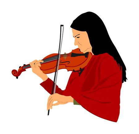 Beautiful young woman playing violin vector, isolated on white background. Street artist girl performer. Violinist lady concert.