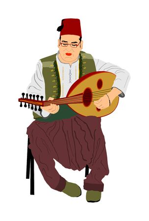 Arab man play oud, lute or mandola vector illustration, traditional music instrument from Asia. Islamic culture. Musician from middle east. Popular street performer, tourist attraction. Oriental event