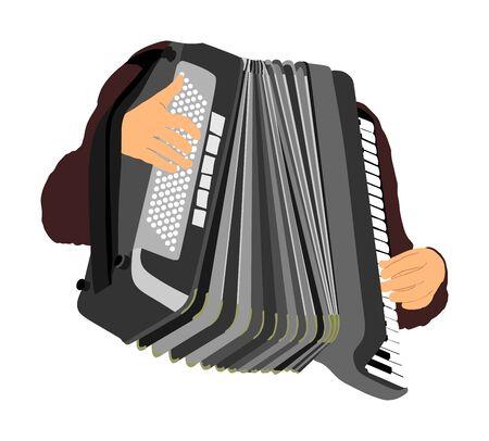 musician accordion man vector Illustration isolated on white background. Music event on the public. Street performer amusement public.  Music artist. Jazz man. Ilustração
