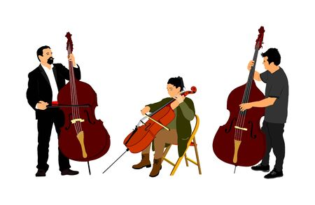 Music trio, woman cellist playing cello with contrabass man duet vector. Classic music event artists play string instrument in orchestra. Jazz street performer. Musicians double bass band on stage.
