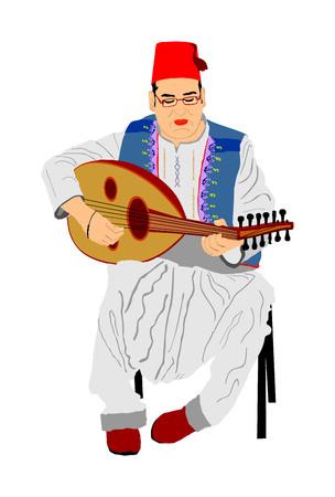 Arabischer Mann spielt Oud-, Laute- oder Mandola-Vektorillustration, traditionelles Musikinstrument aus Asien. Islamische Kultur. Musiker aus dem Nahen Osten. Beliebter Straßenkünstler, Touristenattraktion. Orientalische Veranstaltung