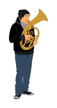 Tenor horn player vector illustration. Music man play wind instrument. Music artist. Jazz man saxhorn. Bugler street performer. Musician play trumpet. Entertainment for public. Classic music event. Illustration
