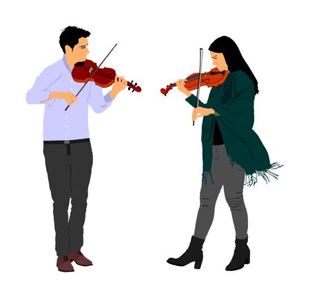 Young man and woman playing violin in duet vector illustration isolated on white. Classic music performer concert. Musician artist amusement public. Virtuoso on violin. Girl plays string instrument.