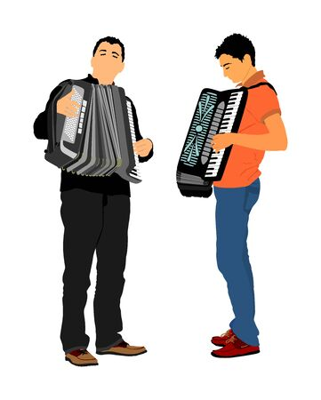 Musician accordion man duet vector isolated on white background. Music event on the public. Street performer amusement public. Music artist. Jazz man. Accordion duo artist entertainment.