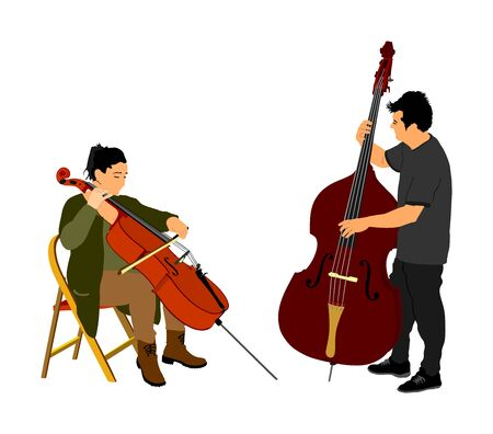 Music duo, woman cellist playing cello with contrabass man duet vector. Classic music event artists play string instrument in orchestra. Jazz street performer. Musicians double bass band on stage.