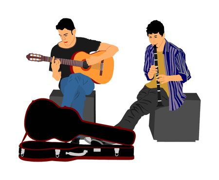 Street music performers with guitar and flute, clarinet play for money vector illustration isolated on white. Guitar player, and  flutist. Musician amusement people. Duet art sound. Boys artist band.