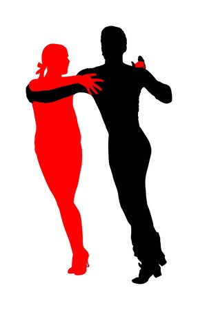Elegance tango Latino dancers vector silhouette isolated on white background. Dancing couple. Partner dance salsa, woman and man in love. lady and gentleman dance passionate Latin America salsa. 일러스트