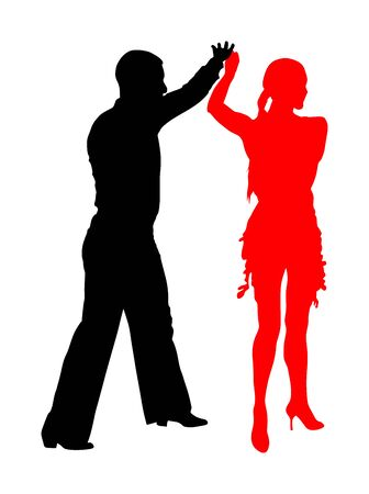 Elegance tango Latino dancers vector silhouette isolated on white background. Dancing couple. Partner dance salsa, woman and man in love. lady and gentleman dance passionate Latin America salsa. Illusztráció
