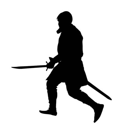 Knight in armor, with sword vector silhouette illustration isolated on white background. Medieval fighter in battle. Hero keeps castle walls. Ilustração