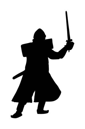Knight in armor, with sword, helmet and shield vector silhouette illustration isolated on white background.  Medieval fighter in battle. Hero keeps castle walls.