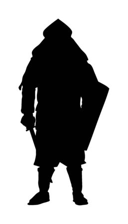 Knight in armor, with sword, helmet and shield vector silhouette isolated on white background. Medieval fighter in battle. Hero keeps castle walls. Scary hang man before execution. Иллюстрация