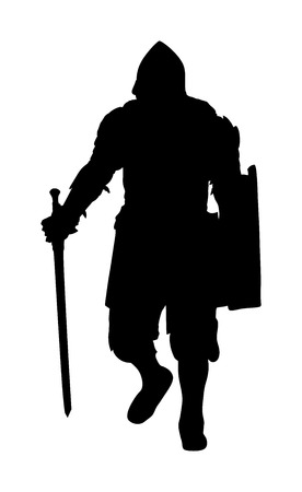 Knight in armor, with sword and shield vector silhouette illustration isolated on white background.  Medieval fighter in battle. Hero keeps castle walls.