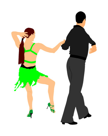 Elegance tango Latino dancers vector illustration isolated on white background. Dancing couple. Partner dance salsa, woman and man in love. lady and gentleman dance passionate Latin America salsa.