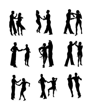 Elegance tango Latino dancers vector silhouette isolated on white background. Dancing couple. Partner dance salsa, woman and man in love. lady and gentleman passionate Latin erotic sensual dance. Vettoriali