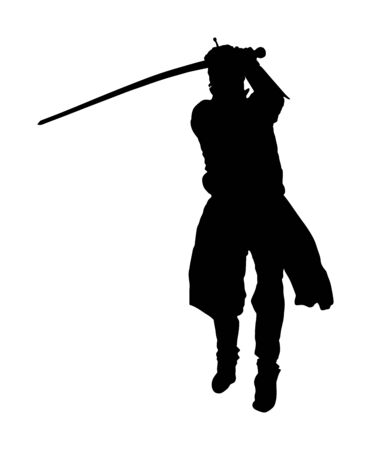 Knight in armor with sword vector silhouette isolated on white. Medieval fighter in battle. Hero keeps castle walls. Armed man defends honor of his family and people. Defend country against enemy.