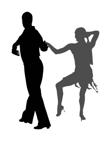 Elegance tango Latino dancers vector silhouette isolated on white background. Dancing couple. Partner dance salsa, woman and man in love. lady and gentleman dance passionate Latin erotic sensual dance Vettoriali