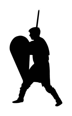 Knight in armor, with spear and shield vector silhouette illustration isolated on white background.  Medieval fighter in battle. Hero keeps castle walls.