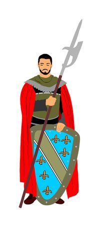 Knight in armor, with spear and shield vector silhouette illustration isolated on white background. Medieval hero in battle. Chevalier in action. Guard keeps the gates of the castle. legend of courage