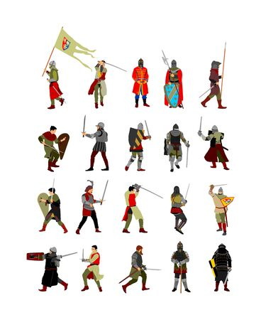 Big group of knight in armor, with sword, helmet and shield vector illustration isolated on white background. Medieval fighter in battle. Hero keeps castle walls. Scary hang man before execution.