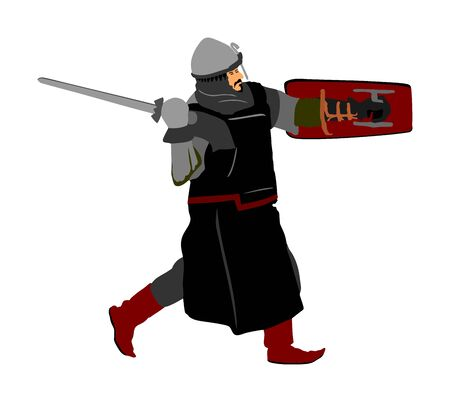 Knight in armor, with sword, helmet and shield vector illustration isolated on white background.  Medieval fighter in battle. Hero keeps castle walls.