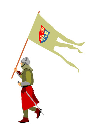 The knight carries a barge with flag to the battle. Knight in armor, with sword vector illustration isolated on white background. Hero defense castle and land.