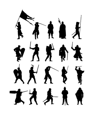 Big group of knights in armor, with sword, helmet and shield vector silhouette isolated on white background. Medieval fighter in battle. Hero keeps castle walls. Scary hang man before execution.