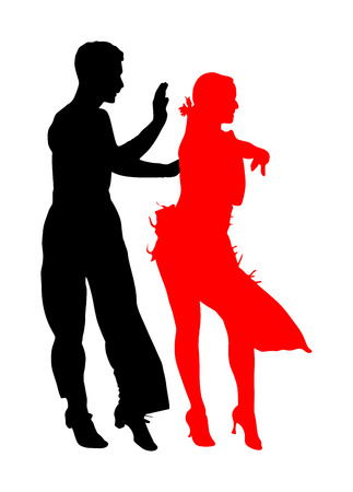 Elegance tango Latino dancers vector silhouette isolated on white background. Dancing couple. Partner dance salsa, woman and man in love. lady and gentleman dance passionate Latin America salsa. Иллюстрация
