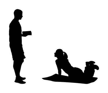 Personal trainer motivates young woman vector silhouette. Fit lady exercise with professional help. Losing weight advice from coach. Fitness girl workout and doing push up in gym. Health care active. Vettoriali