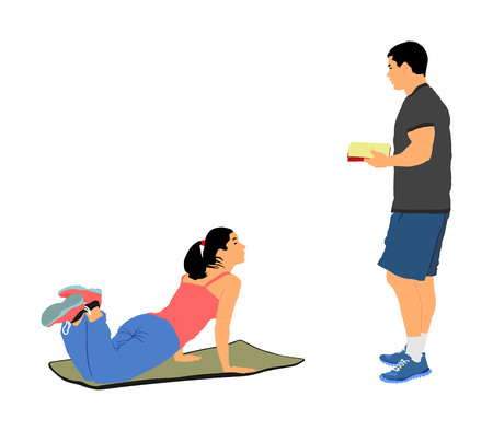 Personal trainer motivates young woman vector illustration. Fit lady exercise with professional help. Losing weight advice from coach. Fitness girl workout and doing push up in gym. Health care active.
