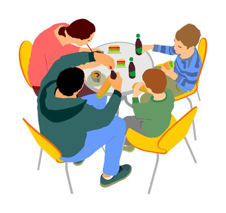 Happy family eating and drinking  together in fast food restaurant vector illustration. Parents and kids fun. Mother and father celebrate sons birthday. Weekend activity. Fathers day or mothers day.