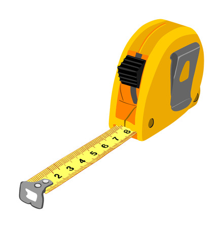 Yellow measuring tape vector isolated on white background. Construction tool tape measure vector illustration. Engineering, repair concept. Fashion work instrument. Sartorial meter.