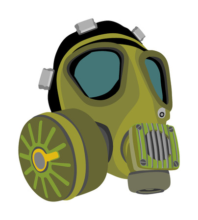 Gas mask vector illustration isolated on white background. Bio hazard equipment against air contamination. Police and military tool for special force.