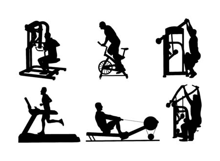 Sport man exercises on gym fitness machine vector silhouette. Chest legs pressure. Pull down, stretching, worming up. Cardio bike. Cable Row. Jump rope skipping. Treadmill run training. Running boy Ilustracje wektorowe