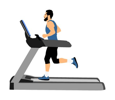 Sport man running on a treadmill in gym vector illustration. Boy on running track cardio training. Fitness instructor personal trainer workout. Exercise on simulator. Gymnastic activity indoor.  イラスト・ベクター素材