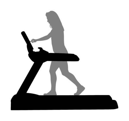 Sport woman running on a treadmill in gym vector silhouette. Girl on running track cardio training. Fitness lady personal trainer workout. Exercise on simulator. Gymnastic activity indoor.