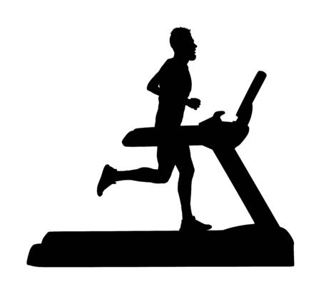 Sport man running on a treadmill in gym vector silhouette. Boy on running track cardio training. Fitness instructor personal trainer workout. Exercise on simulator. Gymnastic activity indoor.