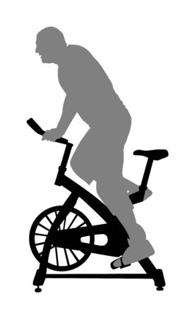 Man work out on exercise bike vector silhouette. Biking in gym cardio training. Indoor cycling bikes worming up. Sport boy losing weight.  Fitness instructor. Personal trainer riding stationary bike Illustration