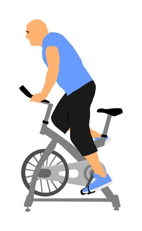 Man work out on exercise bike vector illustration. Biking in gym cardio training. Indoor cycling bikes worming up. Sport boy losing weight.  Fitness instructor. Personal trainer riding stationary bike Иллюстрация