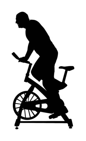 Man work out on exercise bike vector silhouette. Biking in gym cardio training. Indoor cycling bikes worming up. Sport boy losing weight. Fitness instructor. Personal trainer riding stationary bike