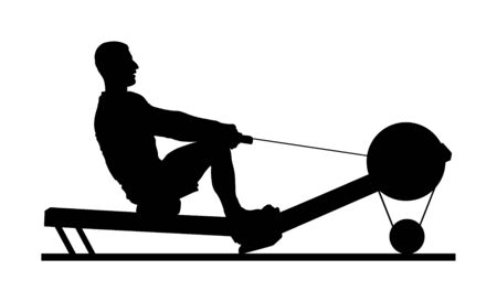 Sport man doing Seated Cable Row in gym vector silhouette illustration. Low cable pulley row seated. Fitness instructor demonstration. Personal trainer exercise on simulator gym machine. Health care. Stockfoto - 129272007