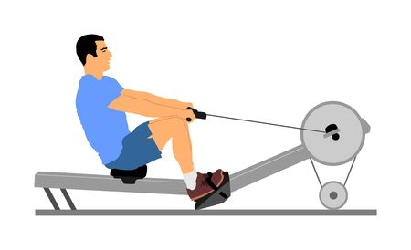 Sport man doing Seated Cable Row in gym vector illustration. Low cable pulley row seated. Fitness instructor demonstration. Personal trainer exercise on simulator gym machine. Health care. Иллюстрация