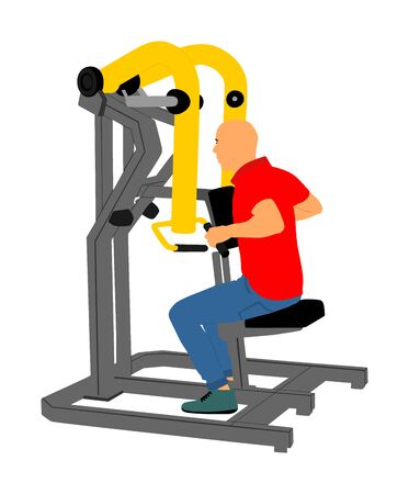 Sport man exercises in gym on fitness machine vector isolated on white background. Multi functional gym equipment. Pressure for chest, legs, arms and shoulders. Pulldown, stretching, worming activity.