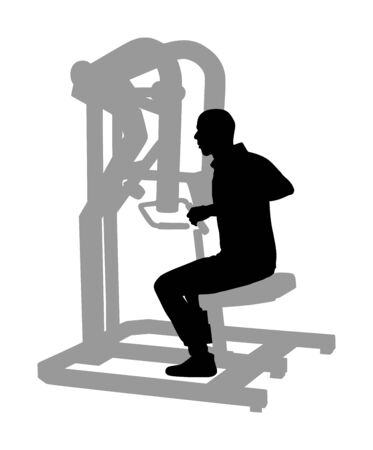 Sport man exercises in gym on fitness machine vector silhouette isolated on white background. Multi functional gym equipment. Pressure for chest, legs, arms and shoulders. Pulldown, stretching, worming activity.