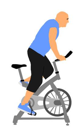 L'homme s'entraîne sur la silhouette vectorielle du vélo d'exercice. Vélo en gym cardio-training. Vélos de cyclisme en salle qui se vermifugent. Garçon de sport perdant du poids. Instructeur de conditionnement physique. Entraîneur personnel à vélo stationnaire Vecteurs