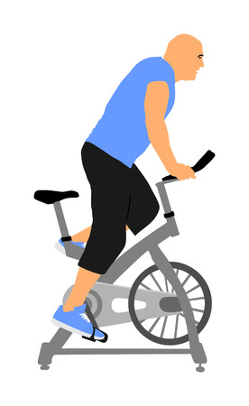 Man work out on exercise bike vector silhouette. Biking in gym cardio training. Indoor cycling bikes worming up. Sport boy losing weight.  Fitness instructor. Personal trainer riding stationary bike Ilustrace