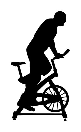 Man work out on exercise bike vector silhouette. Biking in gym cardio training. Indoor cycling bikes worming up. Sport boy losing weight.  Fitness instructor. Personal trainer riding stationary bike 向量圖像