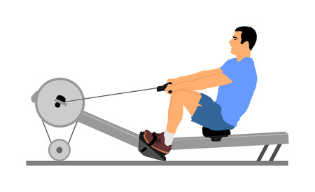 Sport man doing Seated Cable Row in gym vector illustration. Low cable pulley row seated. Fitness instructor demonstration. Personal trainer exercise on simulator gym machine. Health care. 向量圖像
