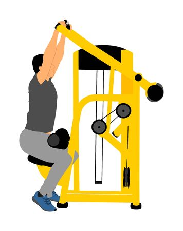 Sport man exercises in gym on fitness machine vector illustration isolated. Multi functional gym equipment. Pressure for chest, legs, arms and shoulders. Pull down, stretching, worming activity