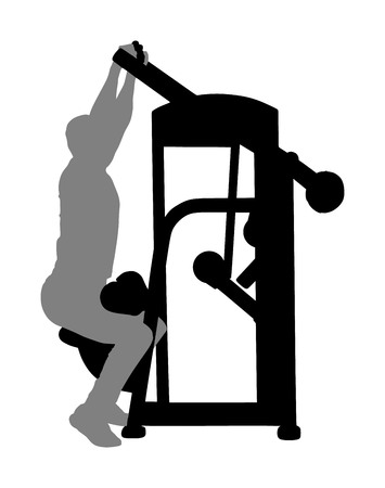 Sport man exercises in gym on fitness machine vector silhouette isolated on white. Multi functional gym equipment. Pressure for chest, legs, arms and shoulders. Pulldown, stretching, worming activity.